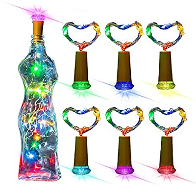 clapzovr Wine Bottle Lights with Cork Top Color Changing, Battery Operated Fairy LED Cork Mini String Lights for Wedding, DIY Party, Decor, Christmas Pack of 6
