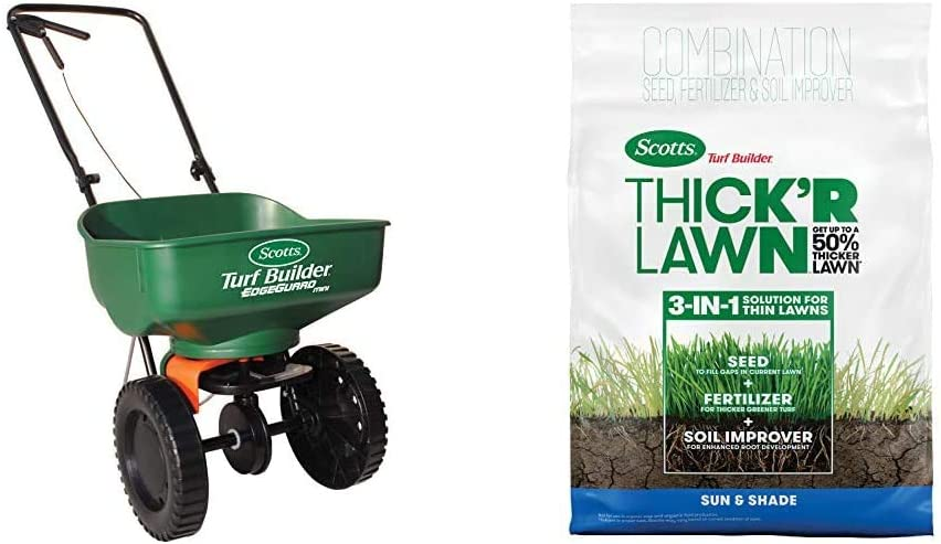 Scotts Turf Builder EdgeGuard Mini Broadcast Spreader - Holds up to 5,000 sq. ft. & Turf Builder Thick'R Lawn Sun & Shade - 3 in 1 Lawn Fertilizer, Seeds up to 4,000 sq. ft, 40 lb.