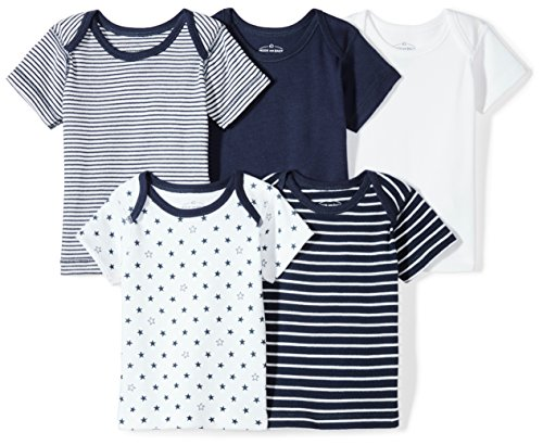 (Moon and Back Baby Set of 5 Organic Lap-Neck Crew Short-Sleeve Tee Shirts, Navy Sea, 24 Months)
