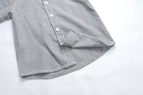 Boys Plaid Button Down Shirts Turn-Down Collar Short Sleeve Cotton Tops Color Grey Size 6A by Snowdreams (Image #5)