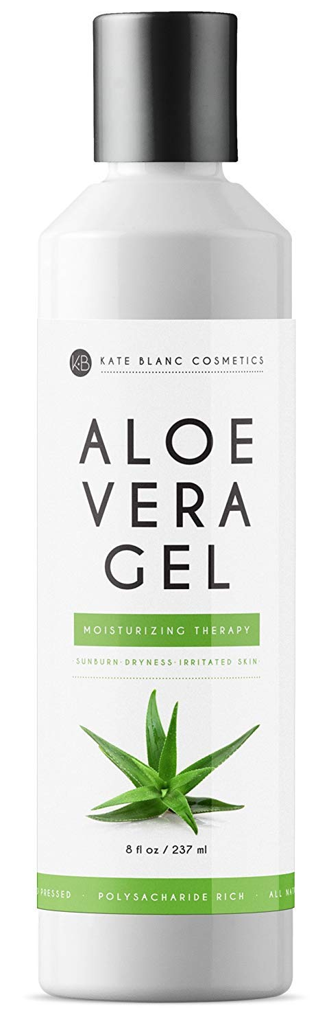 Aloe Vera Gel from Freshly Cut Organic Pure Aloe Plant by Kate Blanc. Great for Hair and Face. Relieves Sunburn, Dry Scalp, Irritated Skin with No Sticky Residue. DIY Hand Sanitizers (16 oz) by Kate Blanc Cosmetics