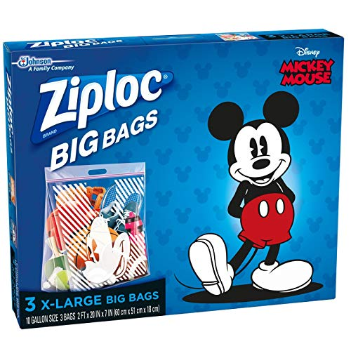 Ziploc N/A Disney Mickey Mouse Extra Large Big Bags – 3ct. (2 PACK), Clear, 7.5 inches (H) x 8.94 inches (W) x 1.5 inches (D)