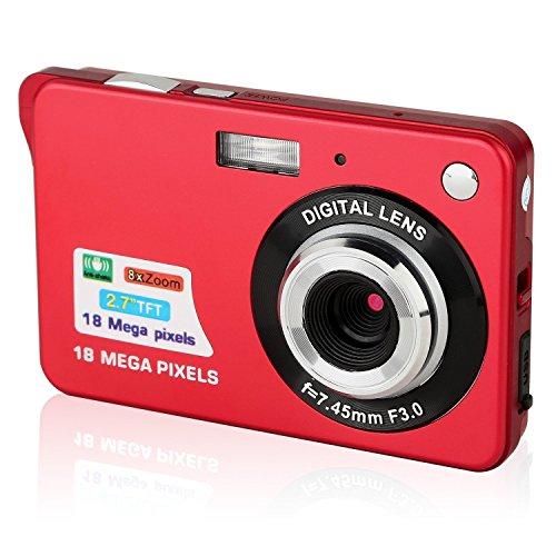 GordVE SJB26 2.7inch 18MP Mini Digital Camera 8x Digital Zoom Red Color by GordVE