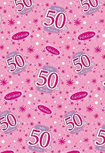 Papel de regalo para 50 cumpleaños. 5 hojas y 2 etiquetas ...