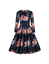 EkarLam® Vintage Long Sleeve Located Floral Formal Outfit Bubble OL Dress
