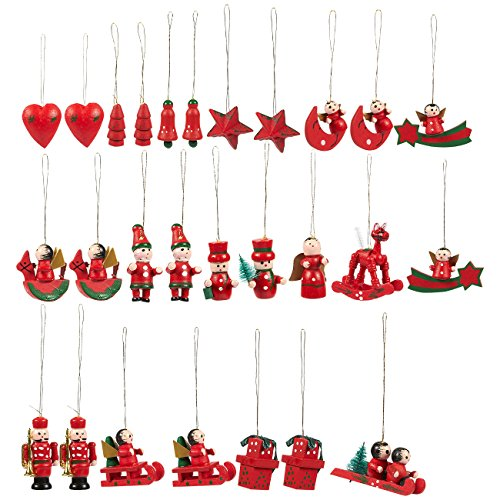 (Juvale 27-Pack of Christmas Tree Decorations - Hanging Wooden Decorations, Ornate Crafted Christmas Ornaments, Festive Embellishments, Assorted Designs)