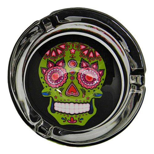 Day of the Dead Sugar Skull Colorful Glass Ashtrays - Assorted Colors (Green)