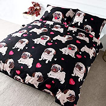 Amazon.com: BlessLiving Trendy Puppy Bedding Love Pug Rose