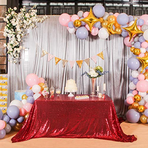 (Eternal Beauty 60'' X 120'' Sequin Tablecloth Wedding Banquet Party Rectangle Table Cover (Wine Red))
