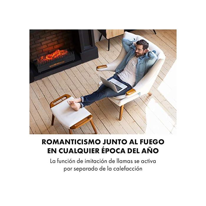 51QvGaIDZhL Romanticismo acogedor: chimenea eléctrica para disfrutar de un cálido fuego sin llamas. Calor agradable: función de calefacción opcional de 1000 W o 2000 W. Limpia: sin hollín ni cenizas, limpieza sencilla. Romanticismo junto al fuego en cualquier época del año: la función de imitación de llamas se activa por separado de la calefacción. Manejo sencillo: 2 niveles de potencia, iluminación independiente y termostato mecánico Chimenea decorativa con iluminación y función de calefacción opcional. Troncos iluminados sin cenizas ni hollín. Función de calefacción opcional de 1000 W o 2000 W