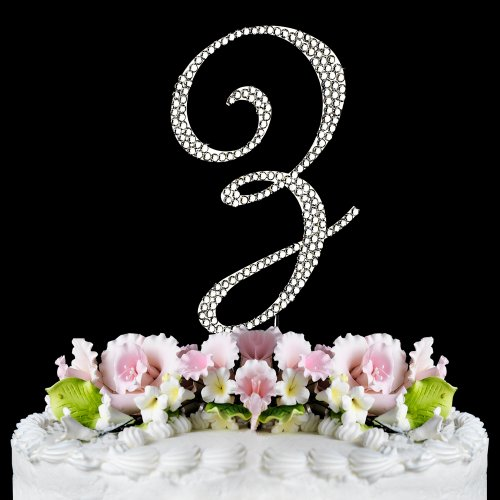 Completely Covered Swarovski Crystal Silver Wedding Cake Toppers ~ LARGE Monogram Letter Z (Swarovski Jewelry Cake)