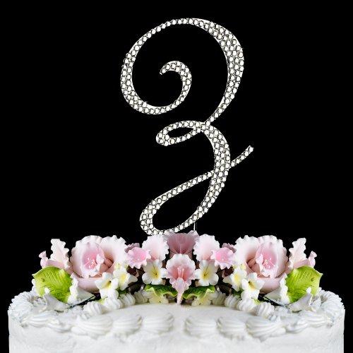Completely Covered Swarovski Crystal Silver Wedding Cake Toppers ~ LARGE Monogram Letter Z (Basket Cake Silver)