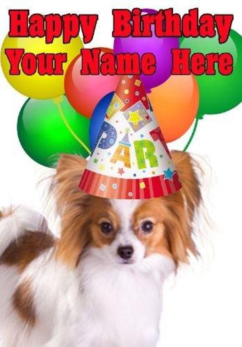 Papillon perro gorro de fiesta Tarjeta codepop cumpleaños A5 ...