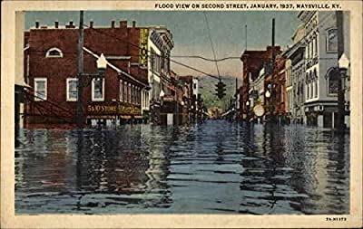 Flood View on Second Street, January 1937 Maysville, Kentucky Original Vintage Postcard