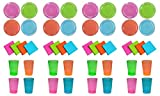 Party Essentials Brights Assorted Neon: 6 inch Plates 40 count, 10oz Tumblers 50 count and Beverage Napkins 48 count; Bundled by Oasis Mercantile (12)