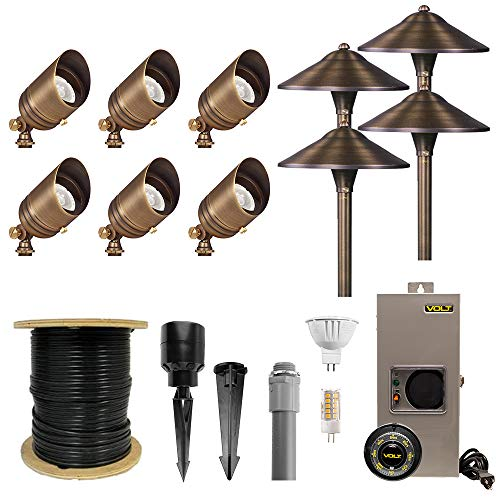 VOLT Lighting Complete Landscape Lighting Kit with 6 Brass Spotlights, 4 Brass Path Lights, Transformer, LED Bulbs, Cable, Stakes and Hub