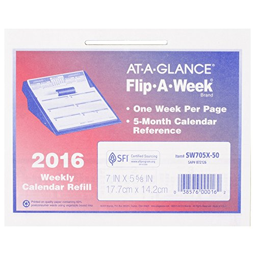 AT-A-GLANCE Flip-A-Week Weekly Refill 2016, 12 Months, 5.63 x 7 Inch Page Size, Base Sold Separately (SW705X50) by At-A-Glance