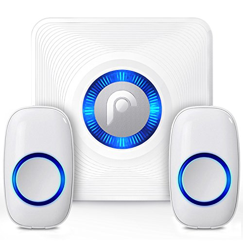 Fosmon WaveLink 51008HOM Wireless Doorbell with 2 Buttons (300M/1000FT, 52 Chime Tunes, 4 Volume Levels, LED Indicators) 2 Remote Push Buttons, 1 Plugin Receiver for Home, Business, Office, Classroom
