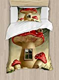 Ambesonne Mushroom Duvet Cover Set Twin Size, Alone Fantasy Mushroom House in Fantasy Forest Cottage Window Surreal, Decorative 2 Piece Bedding Set with 1 Pillow Sham, Pale Brown Green Red