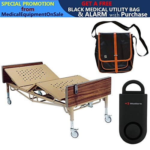 Drive Full Electric Bariatric Hospital Bed, Frame Only & Free 130 dB Black Personal Safety Alarm/Siren! + Black Medical Utility Bag with Trim! Bariatric Full Electric Frame