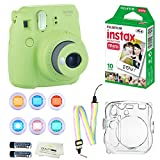 Fujifilm Instax Mini 9 Instant Camera (Lime Green) + 10 Fuji Instant Film Sheets + Convenient Instax Clear Case W/ Rainbow Strap + 6-Color Lenses & More