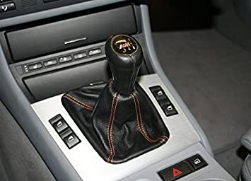 RedlineGoods Shift Boot Compatible with BMW 3-Series E46 1999-04 Black Perforated Leather-Black Thread