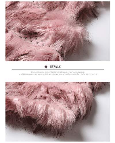 Fausse Pour Pink Zebuakuade Femmes Fourrure Ouvert Sans Manteau Élégante Manches En Cqfw8qX