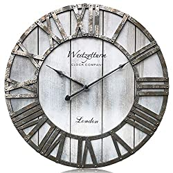 Westzytturm Wood Clock 18 inches Large Wooden Wall Clock Rustic Decorative Farmhouse Battery Operated Non Ticking Silent Sweep Antique Big Clocks for Living Room Bedrooms Home Kitchen Office(Grey)