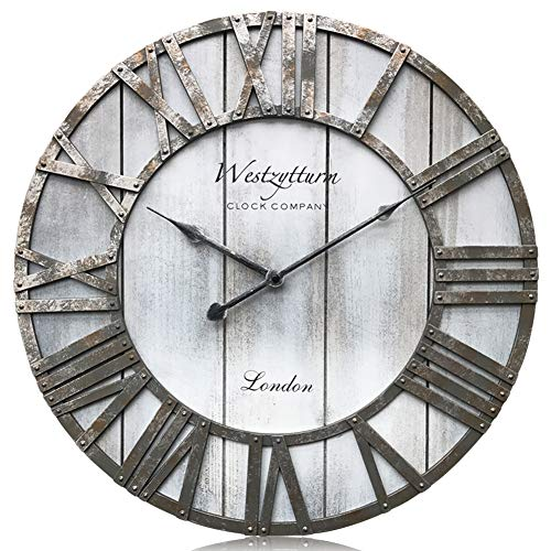 Westzytturm Wooden Wall Clock Battery Operated Non Ticking Quartz Movement Silent Retro Metal Hands Rustic Round Wood Large Vintage Clocks for Living Room Decor Mantel Office Beach(Grey, 18 inch) -