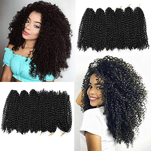 12 Inch Marlybob Crochet Hair 6 Small Packs/lot Crochet Braids Jerry Curly Synthetic Hair Extensions 20 Strands/Pack(1B#)