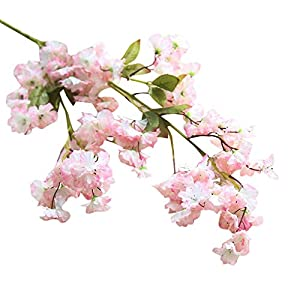Freeby Silk Cherry Blossom Branches Artificial Peach Blossom Tree Stems Faux Cherry Flowers Vase Arrangements for Wedding Home Decor 92