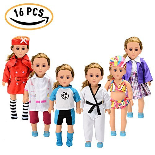 American Girl Doll Accessories Set Wardrobe Makeover16pcs18Inch 6 Outfits American Girl Doll ClothesSoccer Guards OutfitSchool UniformDoctor or Nurse SuitSwimsuitTae Kwon Do Suit Stewardess