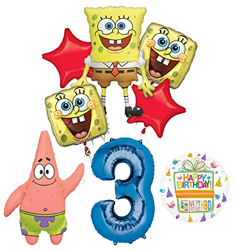 Spongebob Squarepants 3rd Birthday Party Supplies and Balloon Bouquet Decorations]()