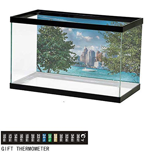 bybyhome Fish Tank Backdrop Detroit,Summer Afternoon River,Aquarium Background,48