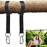 Brillife Tree Swing Hanging Straps Kit, 5ft Hammocks Banding Sling Holds 2000 lbs Extra Long Straps Belts with Safer Lock Snap Carabiner Hooks,Perfect for Tree Limbs Tire Swing & Hammocks