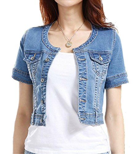 Fundu Women's Sweet Summer Cool Blue Denim Crew-neck Short Sleeve Top Jacket