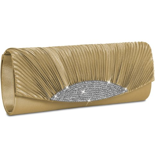 Clutch Champagne Bag Evening with many colours Rhinestones Satin CASPAR Womens TA289 Gorgeous 1wqExZP