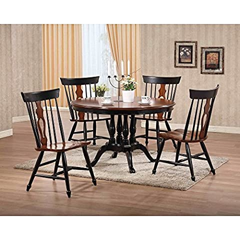 Sunset Trading Fiddleback 48 in. Round Dining Table - Black & Chestnut - 48 Round Pedestal Dining Table