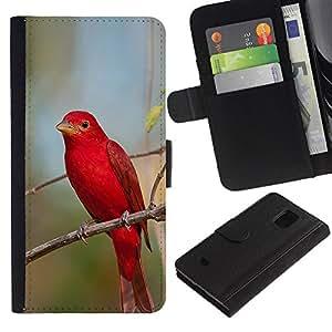 LASTONE PHONE CASE / Lujo Billetera de Cuero Caso del tirón Titular de la tarjeta Flip Carcasa Funda para Samsung Galaxy S5 Mini, SM-G800, NOT S5 REGULAR! / red spring songbird nature branch