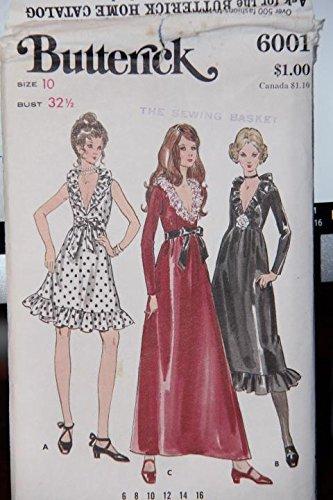 Vintage Butterick Pattern 6001 - Misses' One-Piece Evening Dress Size 10 Bust 32 1/2 - (uncut pattern, envelope has wear/tear) (Vintage Dress Butterick Pattern Uncut)