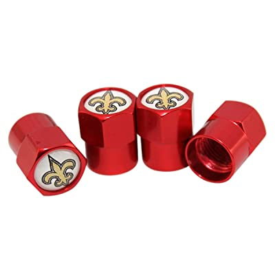 auto Parts 4 Pcs/Set Red Aluminum Tire Valve Stem Cap with Rugby Team Logo Style, Aluminum Tire Wheel Stem Air Valve Caps for Auto Car Motorcycle Bicycle (New Orleana Saints): Automotive
