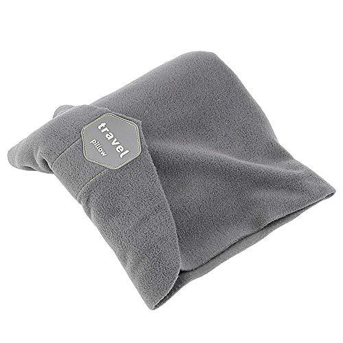CATTA Travel Pillow Portable Soft Head Neck Support Perfect Pillow Lightweight Folding Pillow for Home Office Car Plane Train Machine Ergonomic Design Washable Pillow Grey