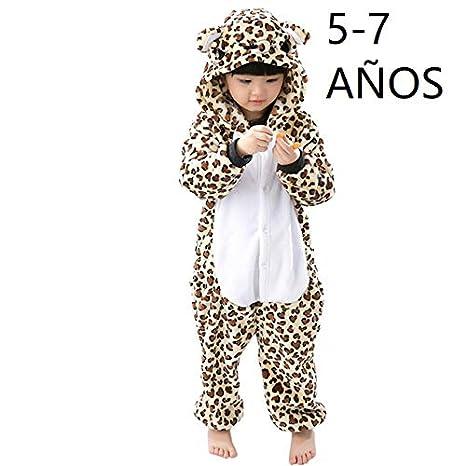 KRAZY TOYS Pijama Animal Entero Unisex para Niños como Ropa de Dormir-Traje de Disfraz para Festival de Carnaval (Leopardo, 5-7)