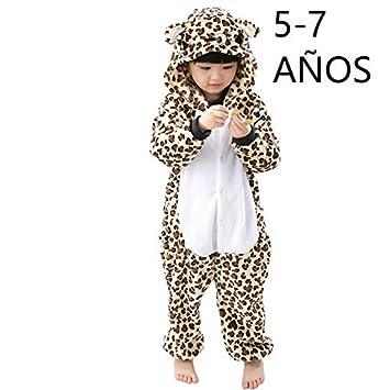 b12f526f66 KRAZY TOYS Pijama Animal Entero Unisex para Niños como Ropa de Dormir-Traje  de Disfraz para Festival de Carnaval (Leopardo