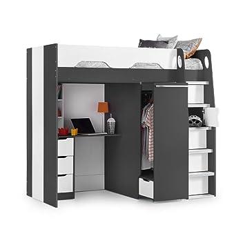 High Sleeper Storage Bed Happy Beds Pegasus Grey Wood Modern Desk Wardrobe Drawers Cupboards Loft