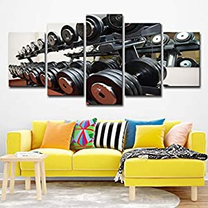 WINSEN Canvas Pictures Wall Art Framework Living Room Home Decor 5 Pieces Gym Dumbbells Fitness Equipment Paintings HD Prints Posters