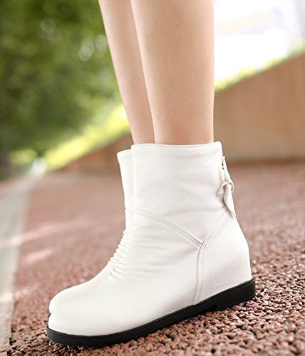 Idifu Womens Sweet Bow Rhinestone Heighten Inside Mid Sleehak Korte Enkellaarzen Booties White