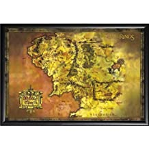 Framed Lord Of The Rings (Map Of Middle Earth) Art 24x36 Dry Mounted Poster In Basic Detail Wood Frame