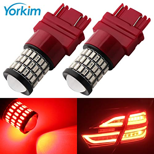 Yorkim Extremely Bright 3157 Led Bulb Red, 3157 Red Led for Brake Lights, Backup Reverse Lights, Tail Lights, Turn Signal Bulb Dual Brightness - 3056 3156 3057 3157 Led Red, Pack of 2