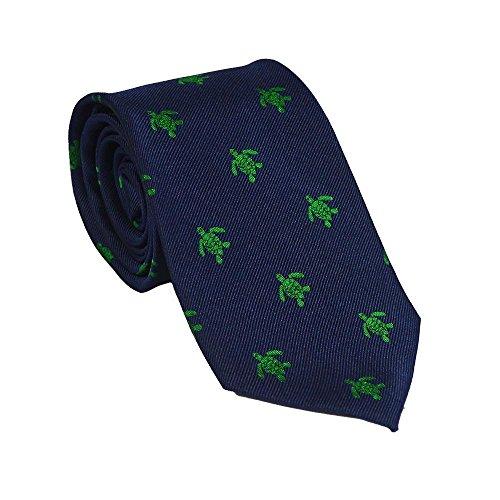 SummerTies Turtle Necktie - Green on Navy, Woven Silk, Standard ()